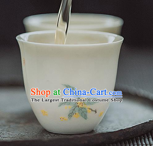 Chinese Classical Hand Printing Fragrans Jingdezhen Shi Tea Cup White Porcelain Ceramics Teacup