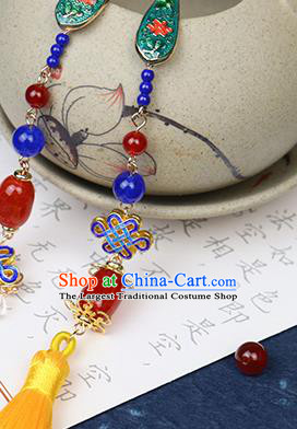 Traditional Chinese Handmade Yellow Tassel Blueing Brooch Hanfu Breastpin Jewelry Accessories for Women