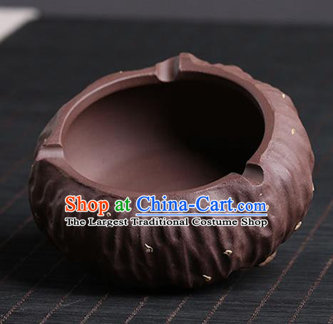 Traditional Chinese Handmade Zisha Lotus Seedpod Ashtray Red Clay Pottery Tray