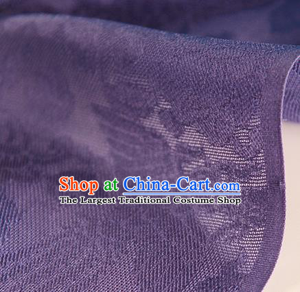 Traditional Chinese Classical Phoenix Flowers Pattern Purple Silk Fabric Ancient Hanfu Dress Silk Cloth