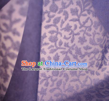 Traditional Chinese Classical Twine Pattern Purple Silk Fabric Ancient Hanfu Dress Silk Cloth