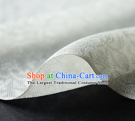 Traditional Chinese Classical Twine Pattern White Silk Fabric Ancient Hanfu Dress Silk Cloth