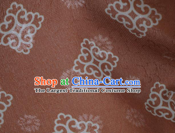 Traditional Chinese Classical Pattern Brown Silk Fabric Ancient Hanfu Dress Silk Cloth