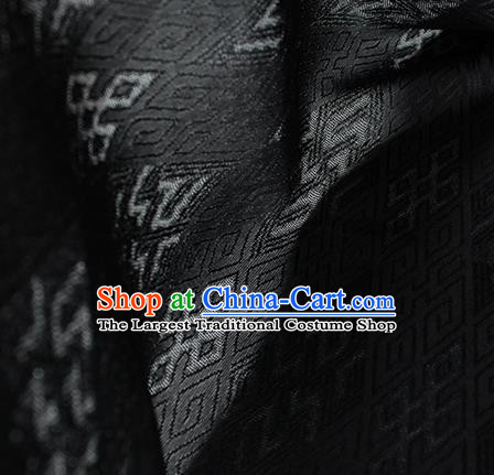 Traditional Chinese Classical Lucky Pattern Black Silk Fabric Ancient Hanfu Dress Silk Cloth