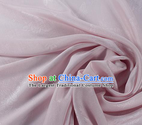 Traditional Chinese Classical Peony Butterfly Pattern Pink Silk Fabric Ancient Hanfu Dress Silk Cloth