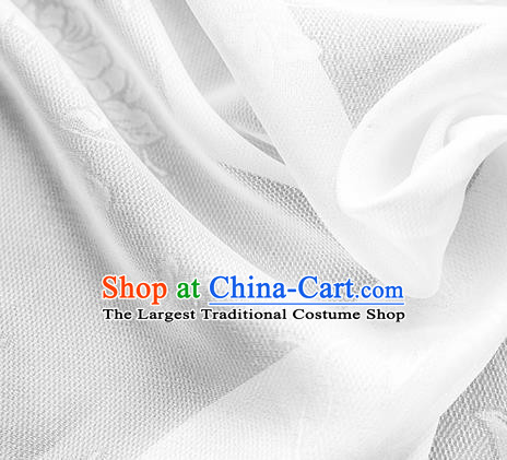 Traditional Chinese Classical Peony Butterfly Pattern White Silk Fabric Ancient Hanfu Dress Silk Cloth