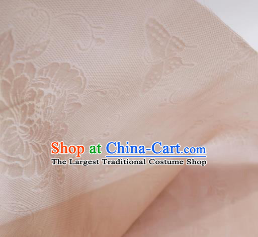 Traditional Chinese Classical Peony Butterfly Pattern Design Pink Silk Fabric Ancient Hanfu Dress Silk Cloth