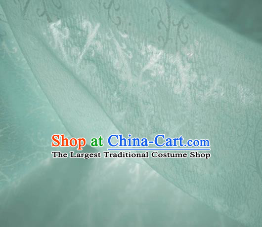 Traditional Chinese Classical Cirrus Pattern Design Light Green Silk Fabric Ancient Hanfu Dress Silk Cloth