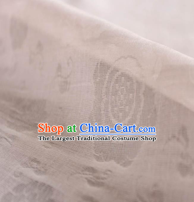 Traditional Chinese Classical Round Flowers Pattern Design White Silk Fabric Ancient Hanfu Dress Silk Cloth