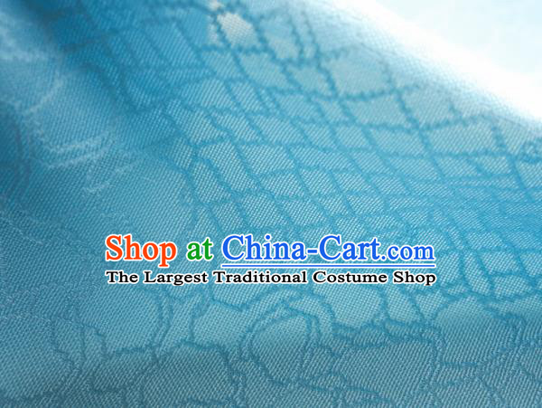Traditional Chinese Classical Riverstones Pattern Design Light Blue Silk Fabric Ancient Hanfu Dress Silk Cloth