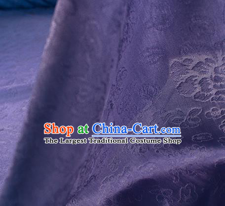 Traditional Chinese Classical Peony Flowers Pattern Design Purple Silk Fabric Ancient Hanfu Dress Silk Cloth