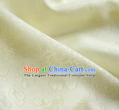 Traditional Chinese Classical Peony Flowers Pattern Design Light Yellow Silk Fabric Ancient Hanfu Dress Silk Cloth