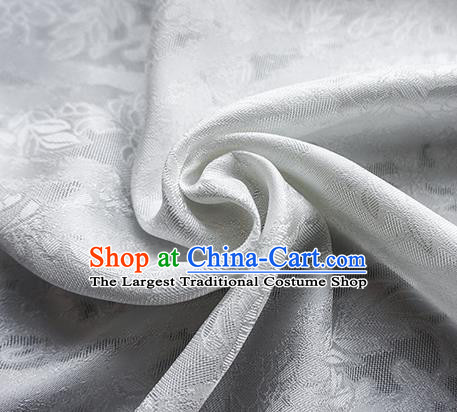 Traditional Chinese Classical Cirrus Flowers Pattern Design White Silk Fabric Ancient Hanfu Dress Silk Cloth