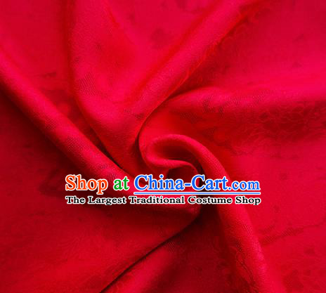 Traditional Chinese Classical Cirrus Flowers Pattern Design Red Silk Fabric Ancient Hanfu Dress Silk Cloth