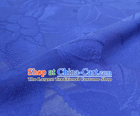Traditional Chinese Classical Lily Flowers Pattern Design Royalblue Silk Fabric Ancient Hanfu Dress Silk Cloth