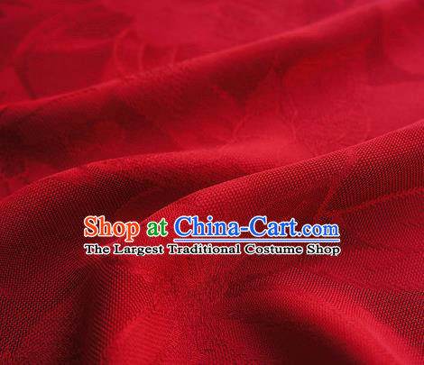 Traditional Chinese Classical Lily Flowers Pattern Design Red Silk Fabric Ancient Hanfu Dress Silk Cloth