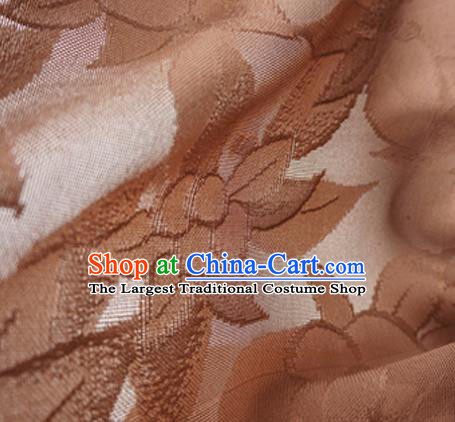 Traditional Chinese Classical Lily Flowers Pattern Design Brown Silk Fabric Ancient Hanfu Dress Silk Cloth