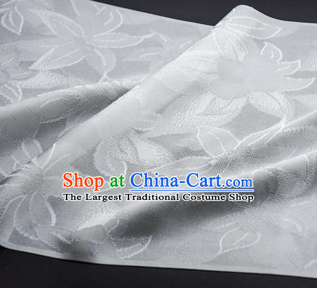 Traditional Chinese Classical Lily Flowers Pattern Design White Silk Fabric Ancient Hanfu Dress Silk Cloth