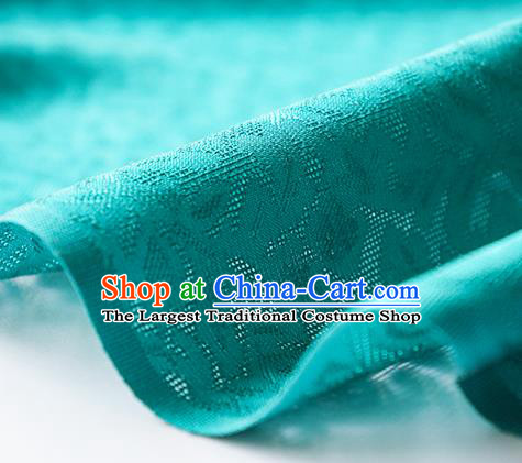Traditional Chinese Classical Apricot Flowers Pattern Design Green Silk Fabric Ancient Hanfu Dress Silk Cloth