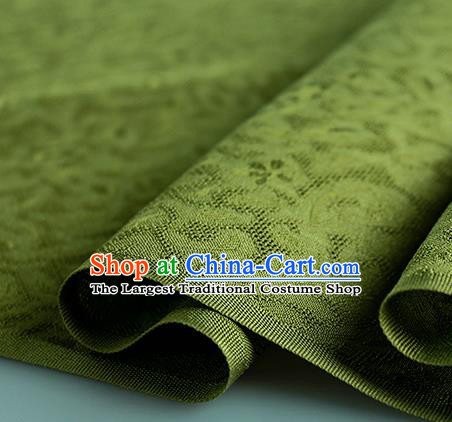 Traditional Chinese Classical Apricot Flowers Pattern Design Olive Green Silk Fabric Ancient Hanfu Dress Silk Cloth