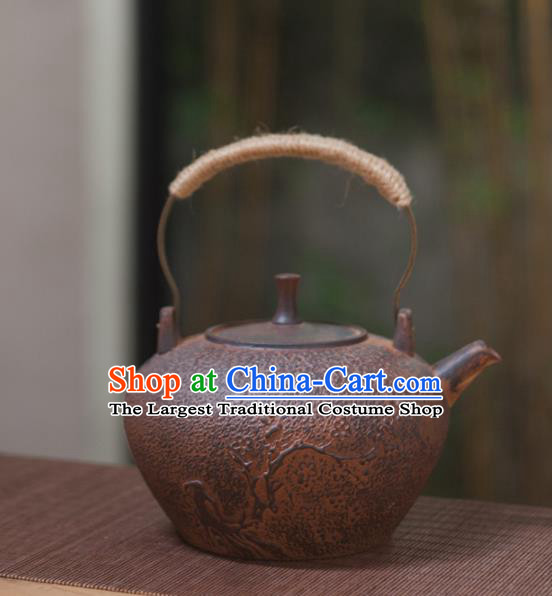 Traditional Chinese Handmade Kung Fu Pottery Teapot Red Clay Carving Tea Kettle