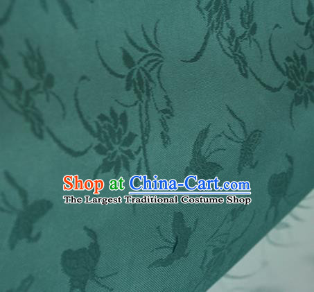 Traditional Chinese Classical Butterfly Lotus Pattern Green Silk Fabric Ancient Hanfu Silk Cloth