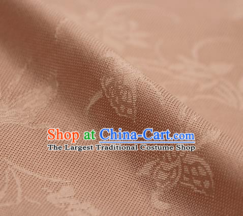 Traditional Chinese Classical Butterfly Lotus Pattern Pink Silk Fabric Ancient Hanfu Silk Cloth