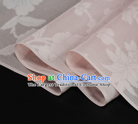 Traditional Chinese Classical Autumn Flowers Pattern Pink Silk Fabric Ancient Hanfu Dress Silk Cloth
