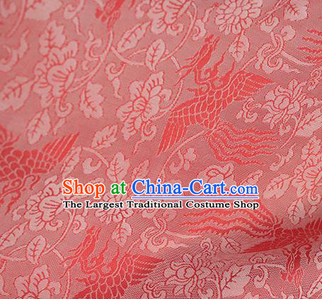 Traditional Chinese Classical Phoenix Peony Pattern Red Silk Fabric Ancient Hanfu Dress Silk Cloth