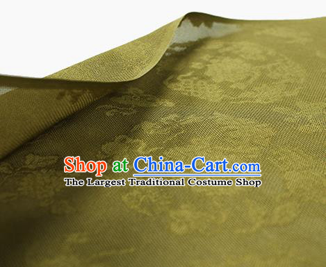 Traditional Chinese Classical Peony Pattern Olive Green Silk Fabric Ancient Hanfu Dress Silk Cloth