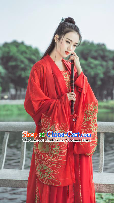 Traditional Chinese Tang Dynasty Bride Wedding Replica Costumes Ancient Nobility Lady Red Hanfu Dress for Women