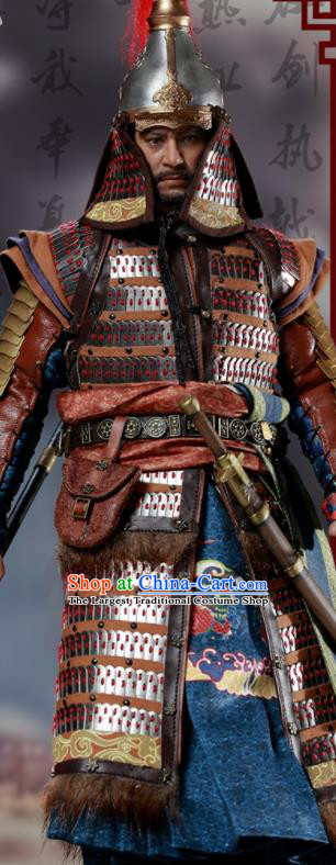 Chinese Ancient Cosplay General Yang Yuan Armor and Helmet Traditional Ming Dynasty Supreme Commander Costumes Complete Set for Men
