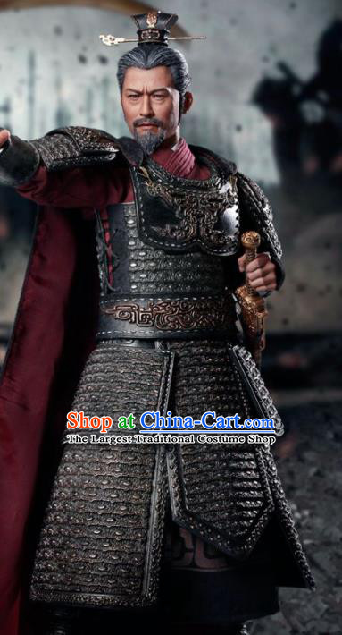 Chinese Ancient Cosplay General Yin Ji Armor and Helmet Traditional Qin Dynasty Supreme Commander Costumes Complete Set for Men