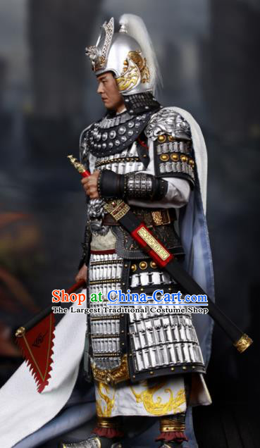 Chinese Ancient Cosplay General Zhou Yu Armor and Helmet Traditional Three Kingdoms Period Supreme Commander Costumes Complete Set for Men
