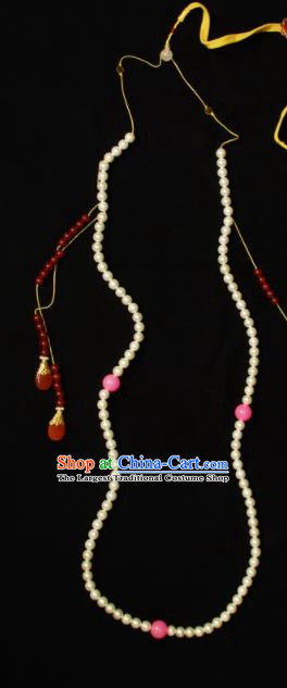 Handmade Chinese Ancient Emperor Necklace Traditional Qing Dynasty Court Beads Accessories for Men