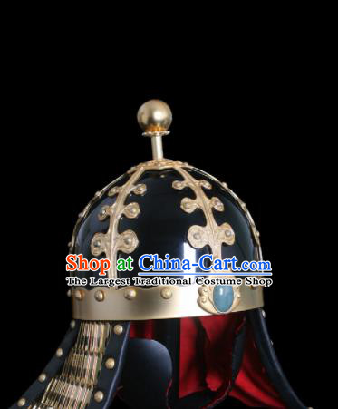 Chinese Ancient Drama Soldier Helmet Traditional Southern and Northern Dynasties General Hat for Men
