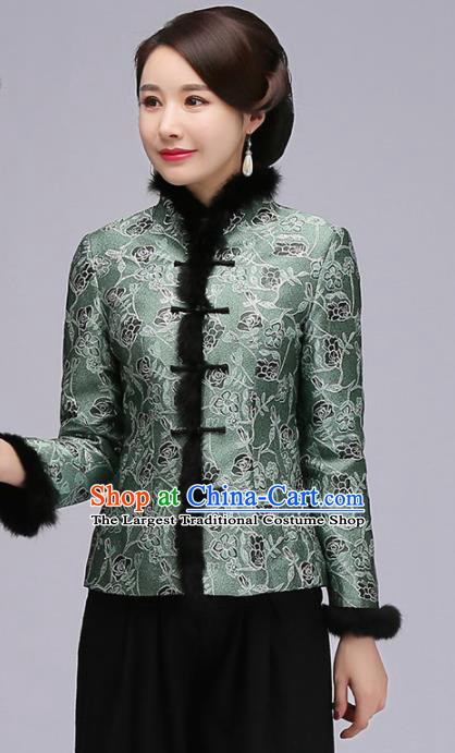 Chinese Traditional Tang Suit Green Jacket Classical National Upper Outer Garment for Women