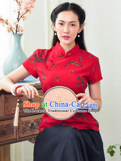 Chinese Traditional Tang Suit Red Blouse Classical National Shirt Upper Outer Garment for Women