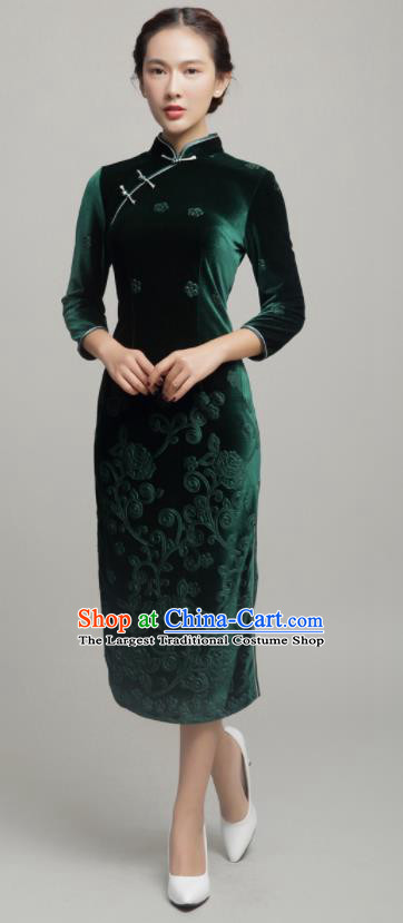 Chinese Traditional Classical Green Velvet Cheongsam National Tang Suit Qipao Dress for Women