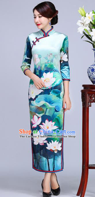 Chinese Traditional Classical Printing Lotus Green Cheongsam National Tang Suit Qipao Dress for Women