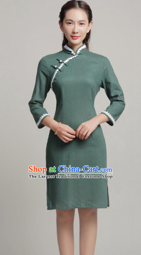 Chinese Traditional Classical Olive Green Short Cheongsam National Tang Suit Qipao Dress for Women