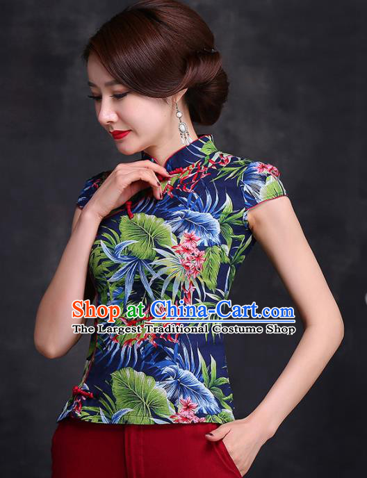Chinese Traditional Tang Suit Printing Blue Blouse Classical National Shirt Upper Outer Garment for Women