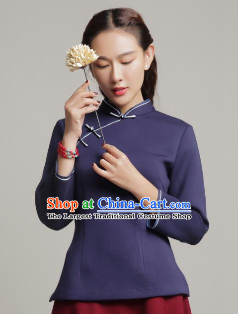 Chinese Traditional Tang Suit Navy Blouse Classical National Shirt Upper Outer Garment for Women