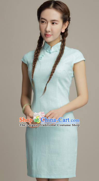 Chinese Traditional Classical Light Green Cheongsam National Tang Suit Qipao Dress for Women