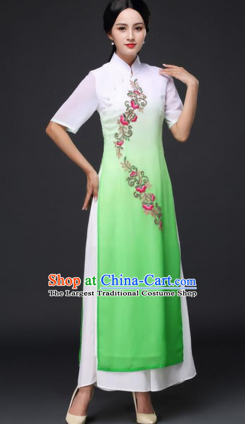 Traditional Chinese Classical Dance Green Cheongsam National Costume Tang Suit Qipao Dress for Women