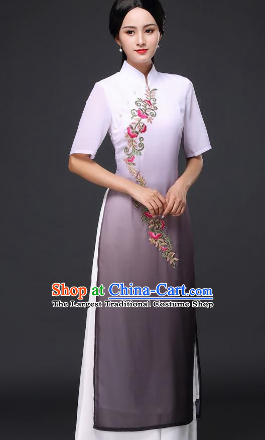 Traditional Chinese Classical Dance Grey Cheongsam National Costume Tang Suit Qipao Dress for Women
