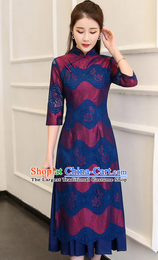 Traditional Chinese Classical Dance Deep Blue Cheongsam National Costume Tang Suit Qipao Dress for Women