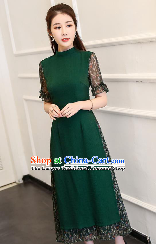 Traditional Chinese Classical Deep Green Cheongsam National Costume Tang Suit Qipao Dress for Women