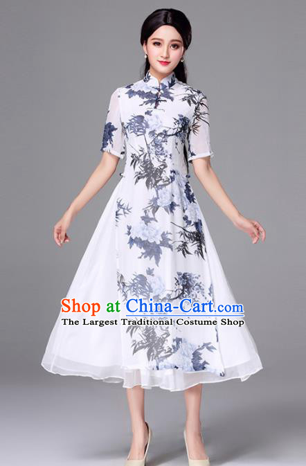Traditional Chinese Classical Printing Bamboo Cheongsam National Costume Tang Suit Qipao Dress for Women