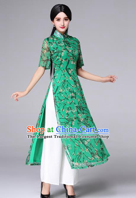 Traditional Chinese Classical Green Cheongsam National Costume Tang Suit Qipao Dress for Women